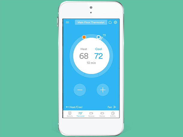 Adjust thermostat settings vivint smart home app for Heat setting for home