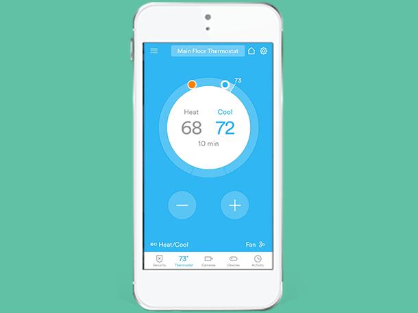 adjust thermostat settings vivint smart home app. Black Bedroom Furniture Sets. Home Design Ideas