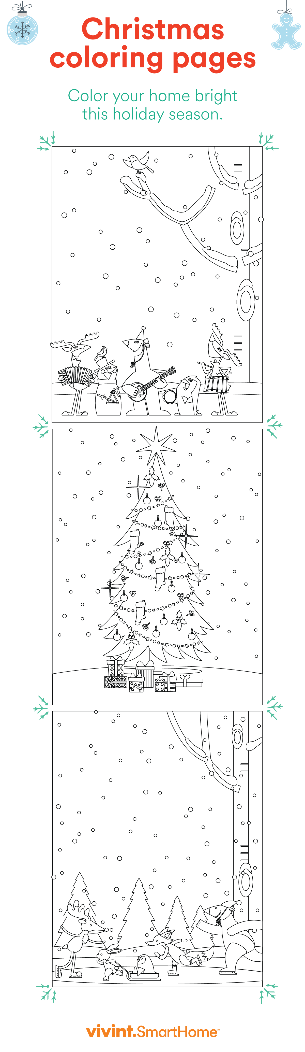 Download free Christmas coloring pages from Vivint Smart Home
