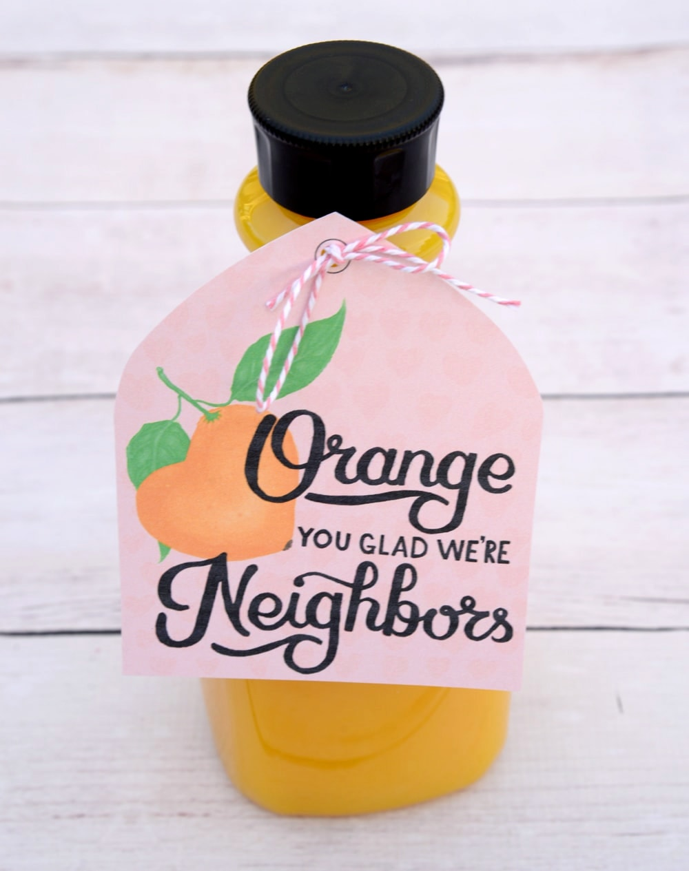 Free orange juice Valentines printable