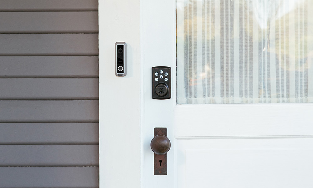 Vivint Smart Locks on a grey home