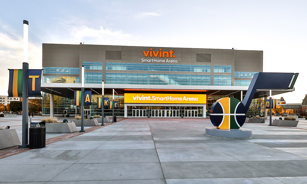 Vivint Smart Home Arena Exterior Evening