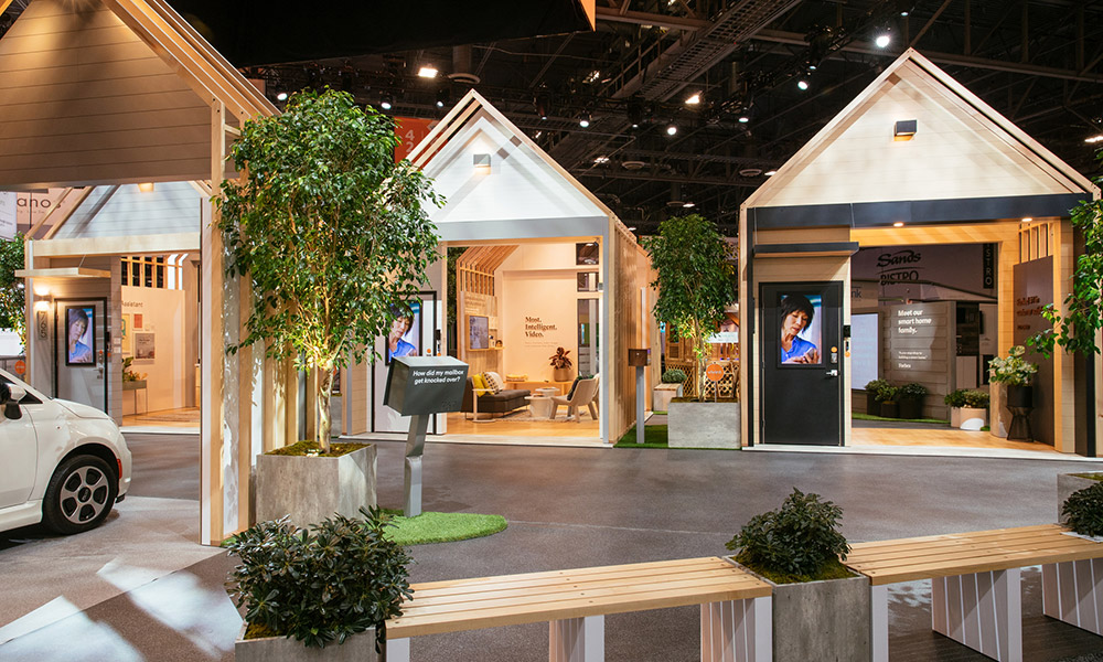 The Vivint Smart Home booth at CES featured multiple houses to make up a neighborhood