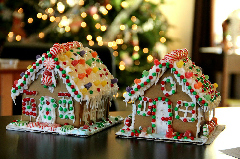 gingerbread houses on table