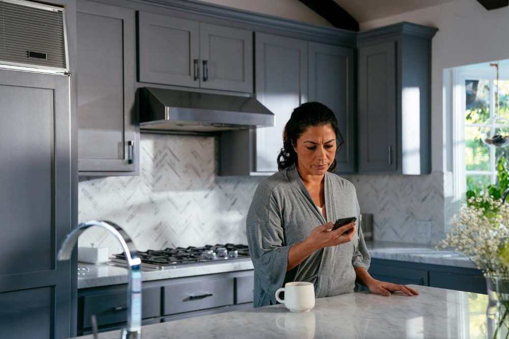 Woman Checking Phone Notification