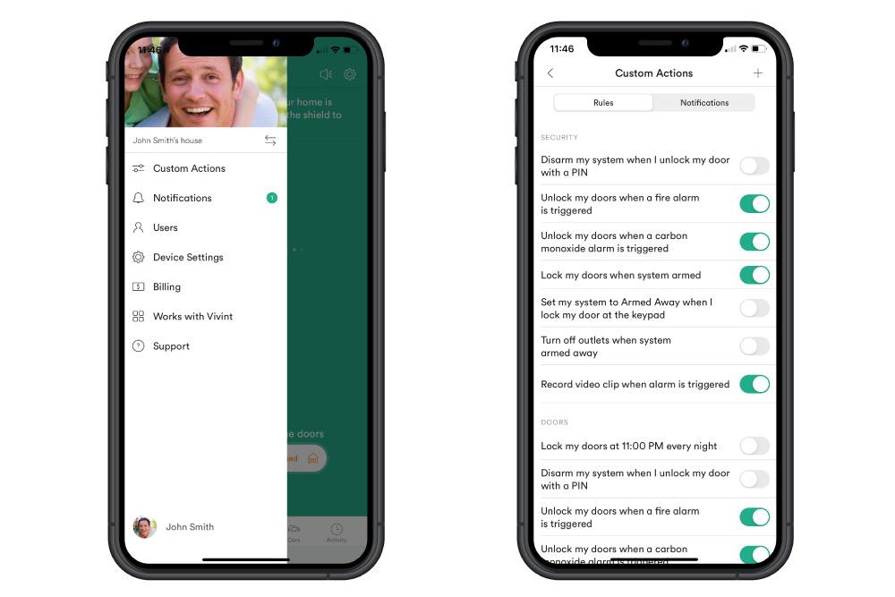 custom actions menu in the Vivint app