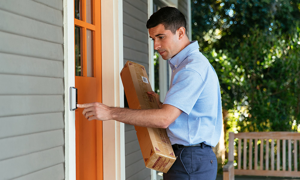 video doorbell ring by delivery person