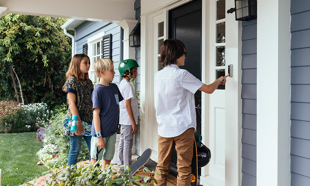 Children using the Vivint doorbell camera
