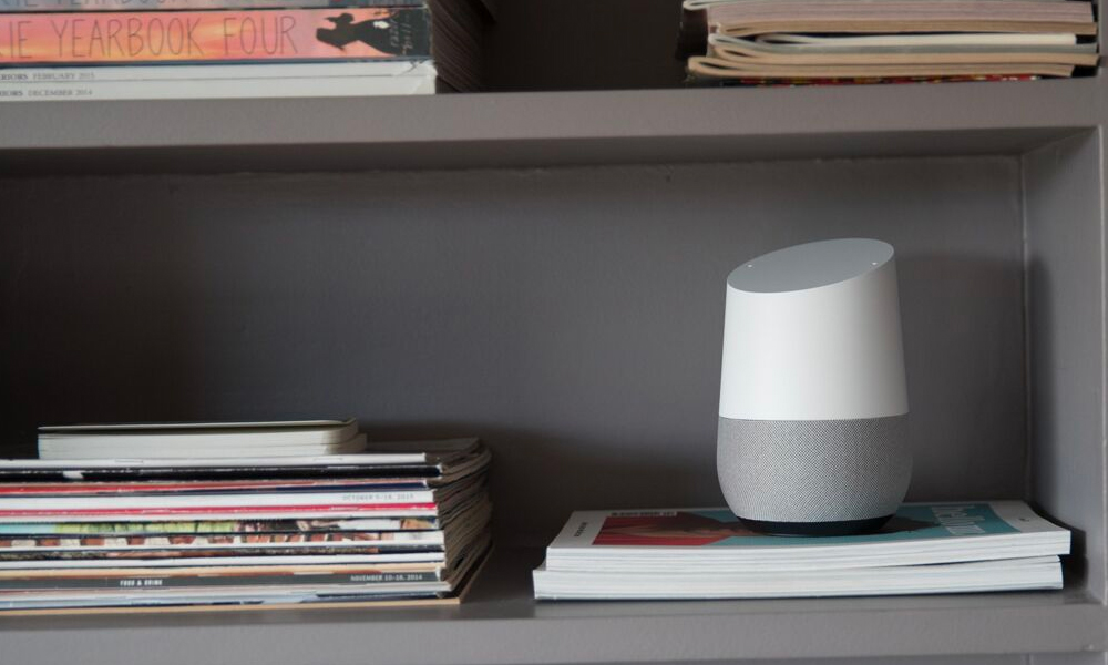 Google home assistant on a shelf