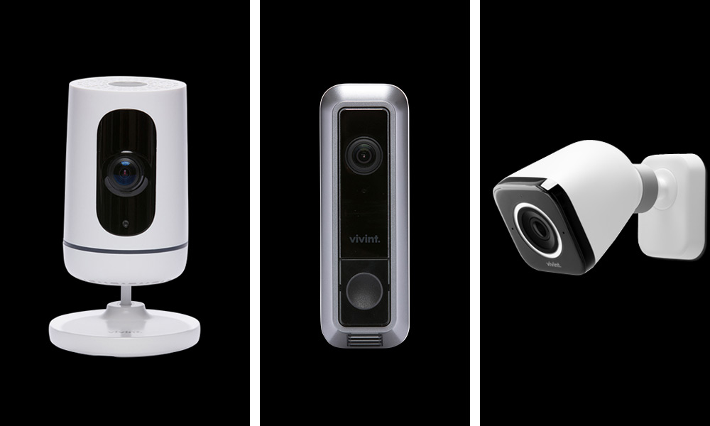 Vivint doorbell, indoor camera, and outdoor cameras, and the Smart Home App
