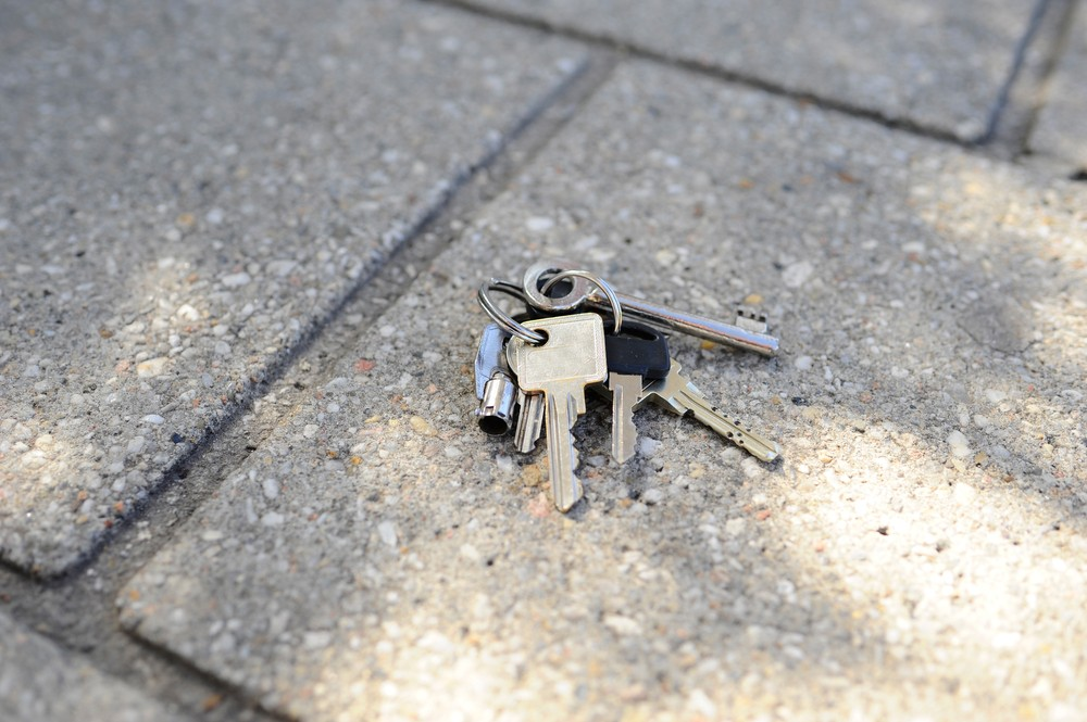 Keys lying on concrete