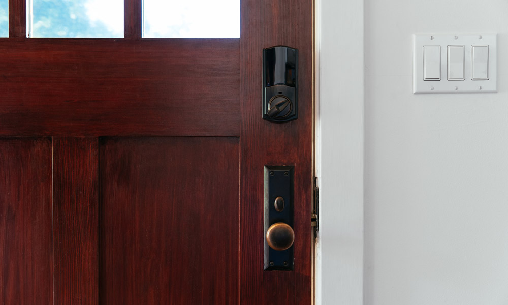 Smart Lock Inside Wood Door
