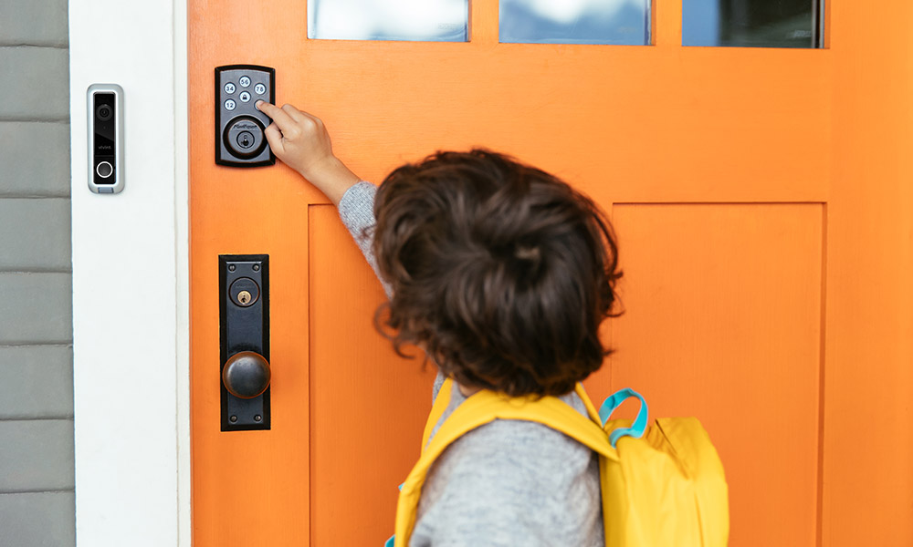 Boy uses smart lock unique access code