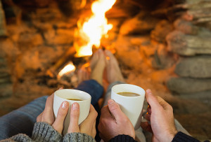 Cozy fireplace and hot coco