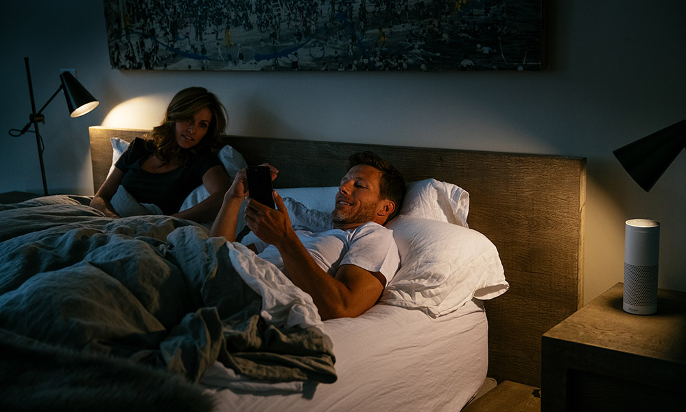 Couple Control Lighting Smart Phone Bed